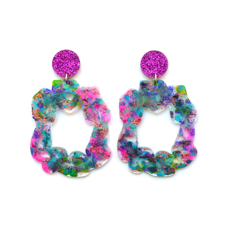 Abstract Art Glitter Laser Cut Acrylic Hoop Statement Earrings