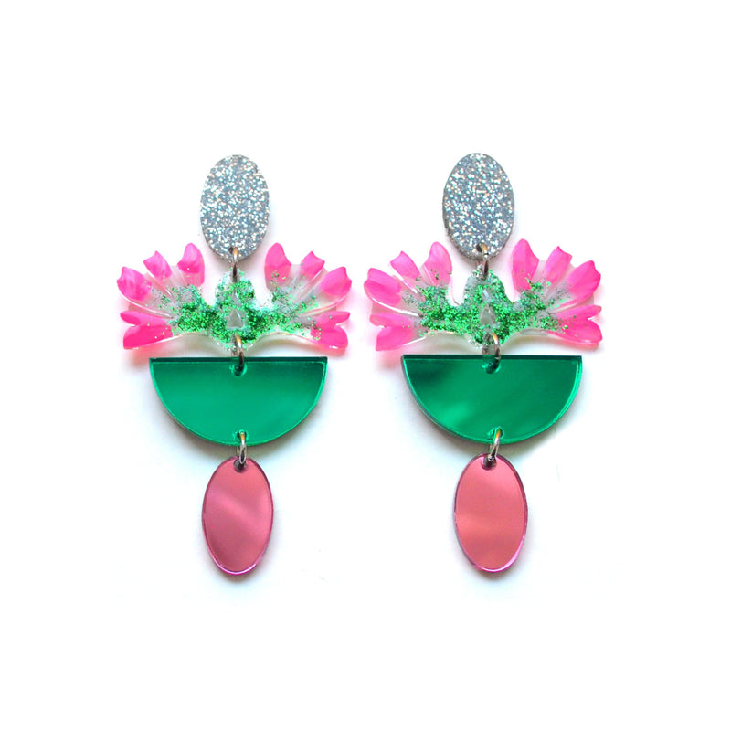 Pink and Green Laser Cut Acrylic Glitter Flower Earrings