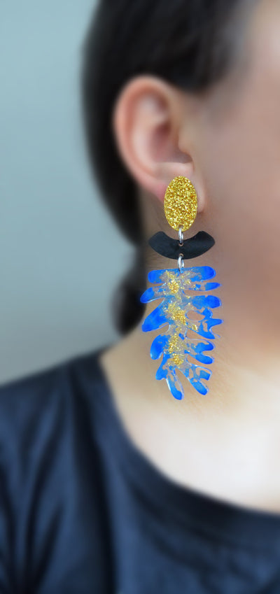 Blue Seaweed Statement Earrings with Gold Glitter