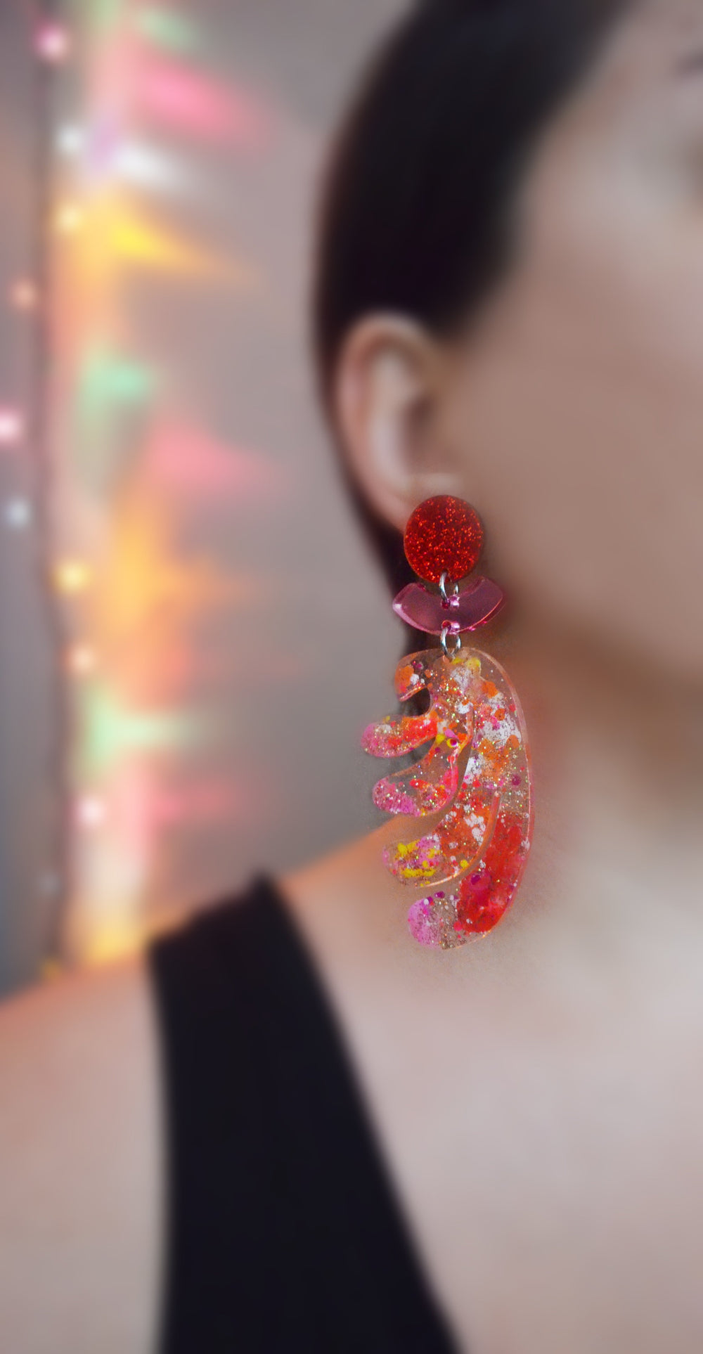 Pink and Red Squiggle Statement Earrings