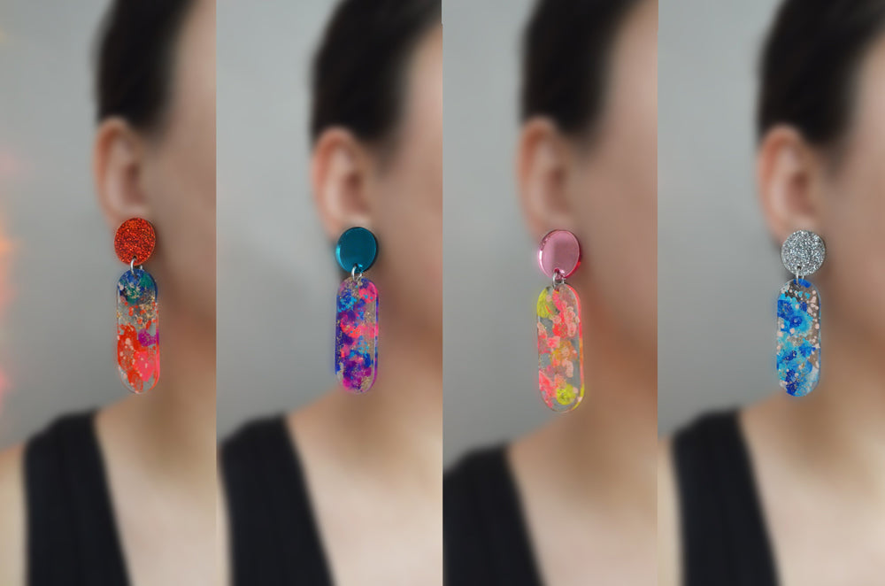 Small Oval Drop Dangle Earrings, Laser Cut and Resin Jewelry