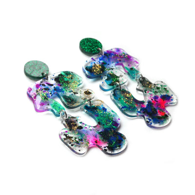 Green and Purple Abstract Resin Art Laser Cut Acrylic Wavy Shape Earrings