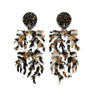 Black and Gold Glitter Branch Resin Art Statement Earrings