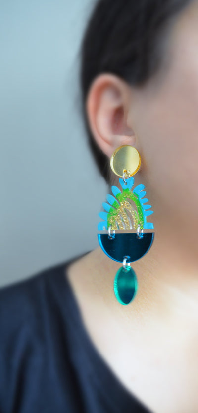 Green and Turquoise Plant Statement Earrings, Gold Laser Cut Jewelry