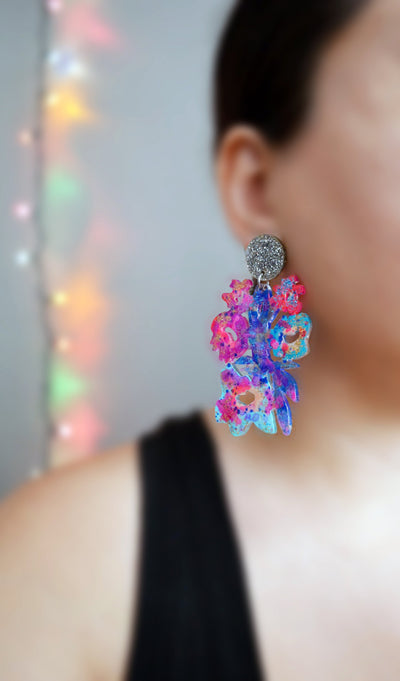 Pink and Blue Laser Cut and Glitter Resin Flower Earrings
