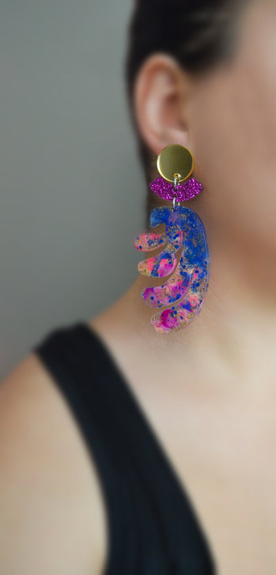 Abstract Shapes Matisse Art Resin Earrings, Laser Cut Acrylic Jewelry