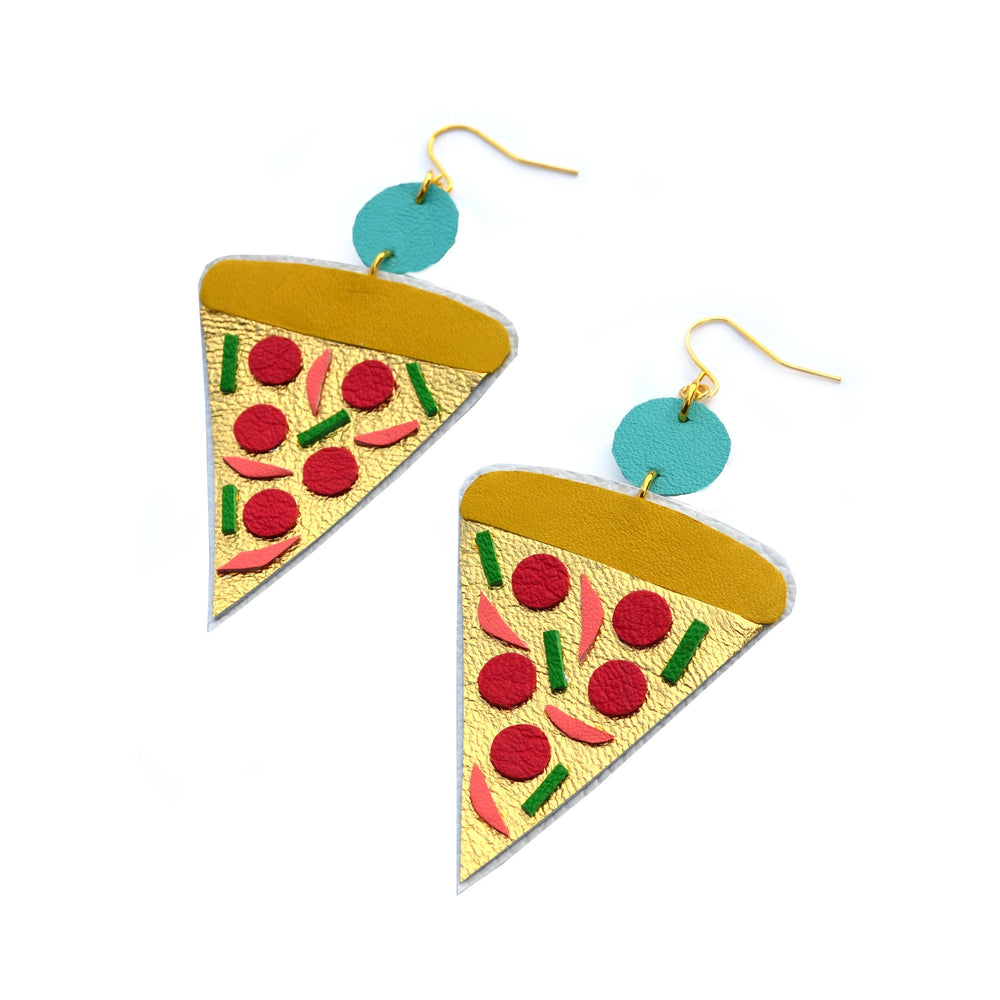 Pizza Earrings with Gold Leather and Colorful Toppings, Food Jewelry