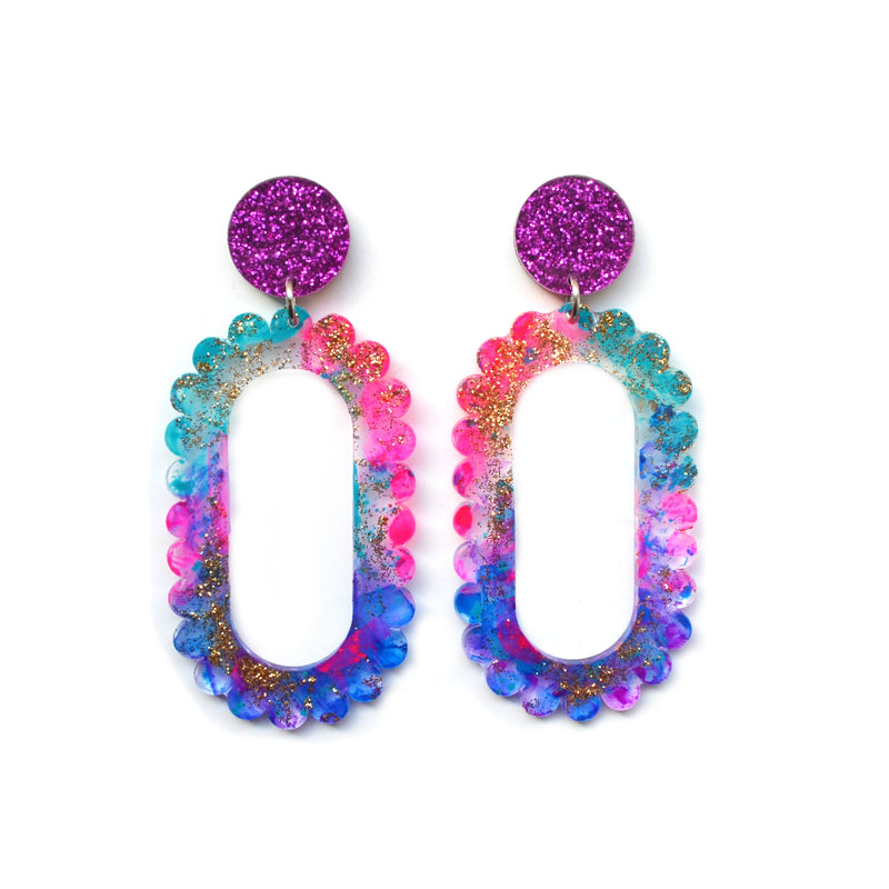 Pink Glitter Drop Scalloped Hoop Laser Cut Acrylic Earrings