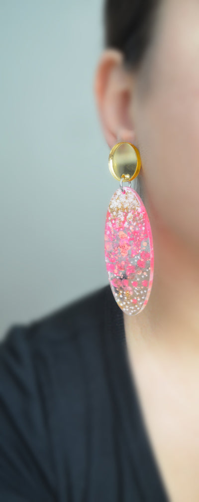Pink and Peach Abstract Art Glitter Resin Oval Drop Earrings
