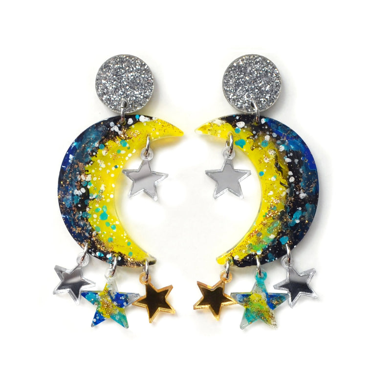 Crescent Moon Celestial Metallic Star Resin Earrings