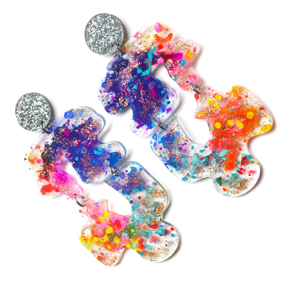 Squiggle Wavy Shape Rainbow Abstract Resin Art Earrings, Laser Cut Acrylic Jewelry
