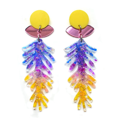 Purple and Yellow Ombre Branch Laser Cut Acrylic Resin Earrings