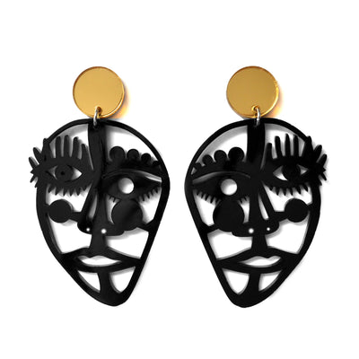 Abstract Face Statement Earrings in Black or White Acrylic