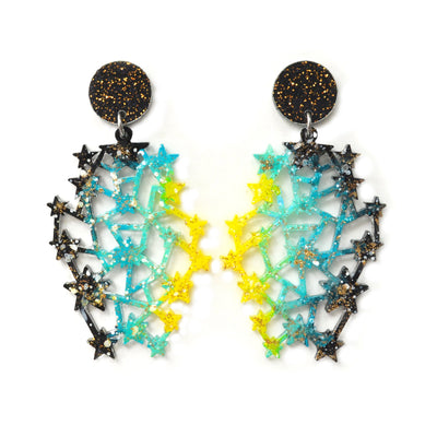 Black and Teal Glitter Star Space Constellation Earrings
