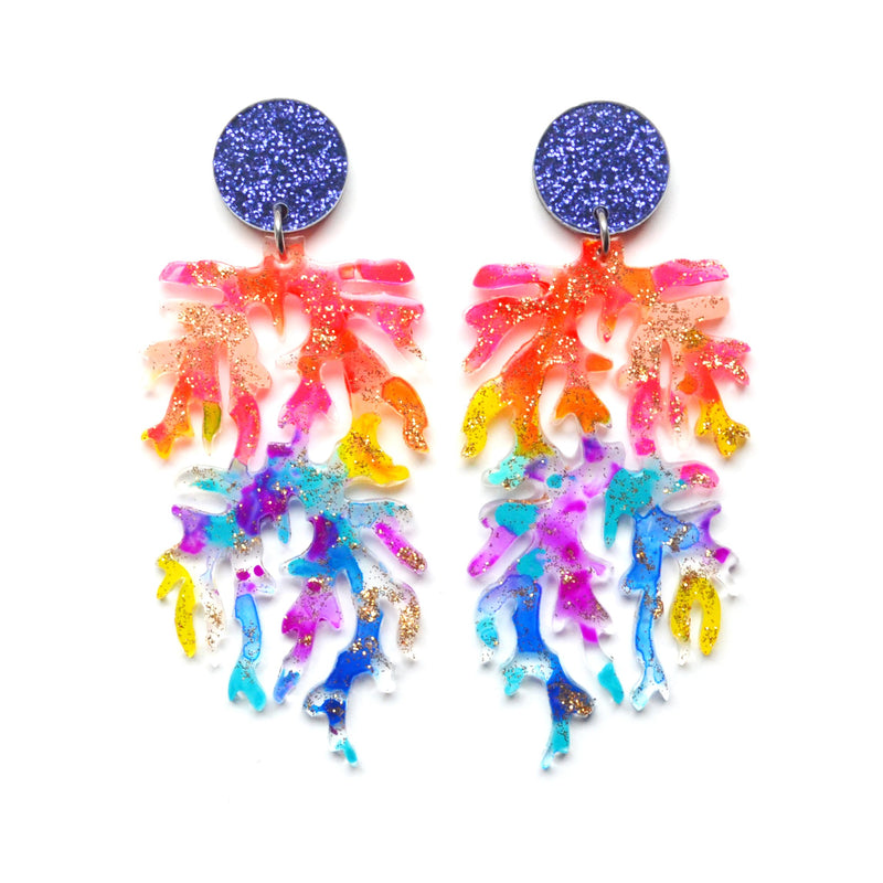 Rainbow Mermaid Coral Laser Cut Acrylic Earrings