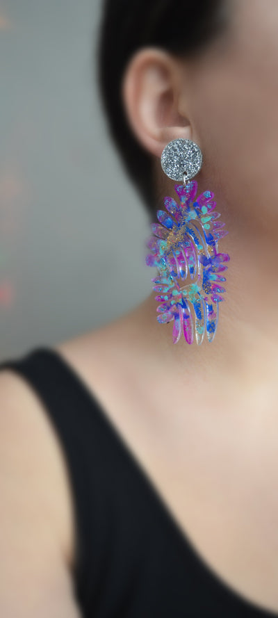 Blue and Purple Resin and Acrylic Leaf Statement Earrings, Laser Cut Jewelry
