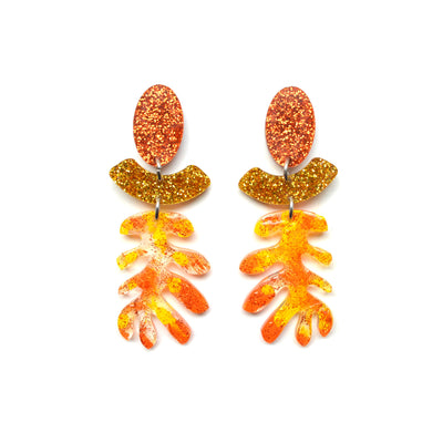 Orange Copper and Gold Glitter Resin Laser Cut Leaf Earrings