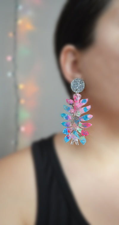 Pink and Turquoise Abstract Art Resin Flower Leaf Earrings
