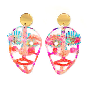 Gold and Hot Pink Laser Cut Face Earrings