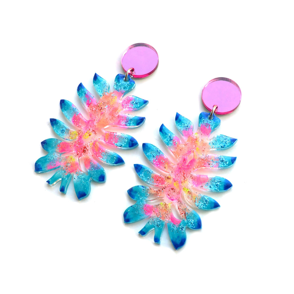 Pastel Space Flower Resin Earrings, Laser Cut Acrylic Jewelry