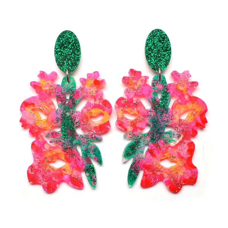 Pink and Green Laser Cut Resin Flower Statement Earrings