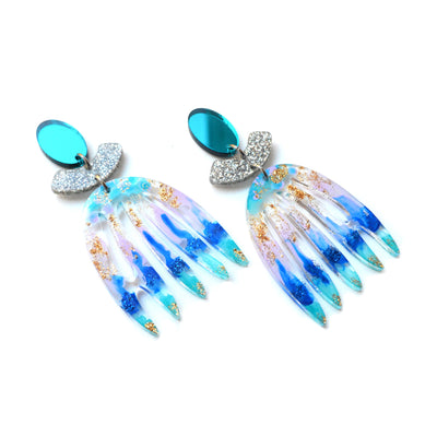 Blue Mirror Abstract Art Glitter Laser Cut Acrylic Earrings