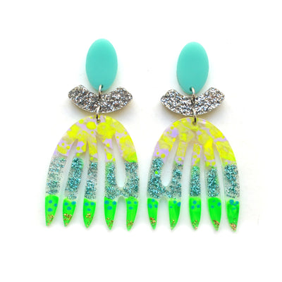 Green Yellow and Mint Abstract Art Leaf Earrings