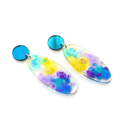 Pastel Ocean Abstract Art Glitter Oval Drop Earrings, Laser Cut Acrylic