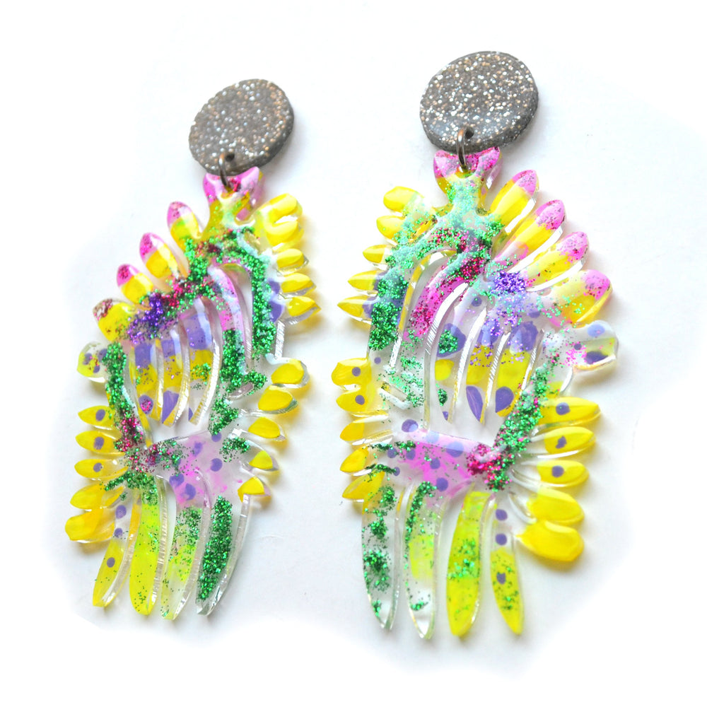 Yellow and Fuchsia Acrylic Laser Cut Statement Earrings with Green Glitter