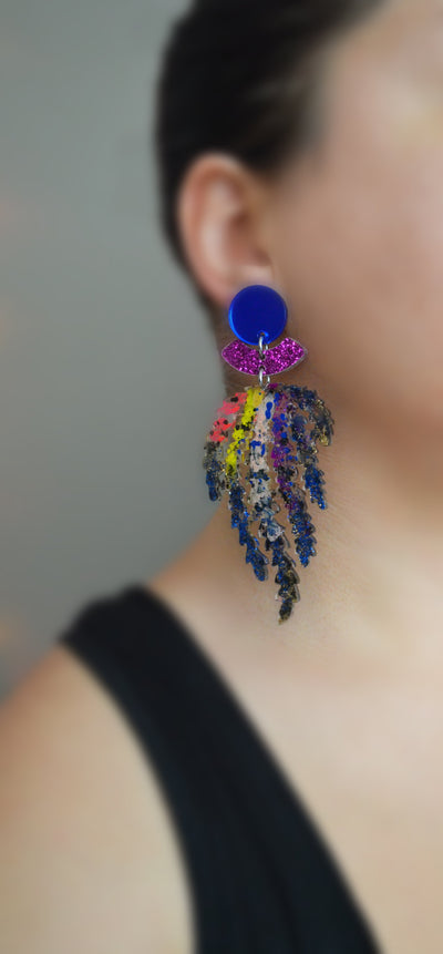 Black and Rainbow Leaf Statement Acrylic Earrings