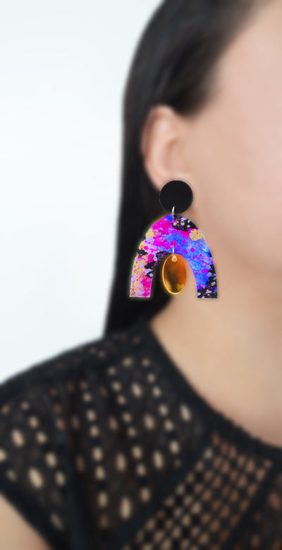 Abstract Art Blue and Gold Arch Earrings, Laser Cut Acrylic Jewelry