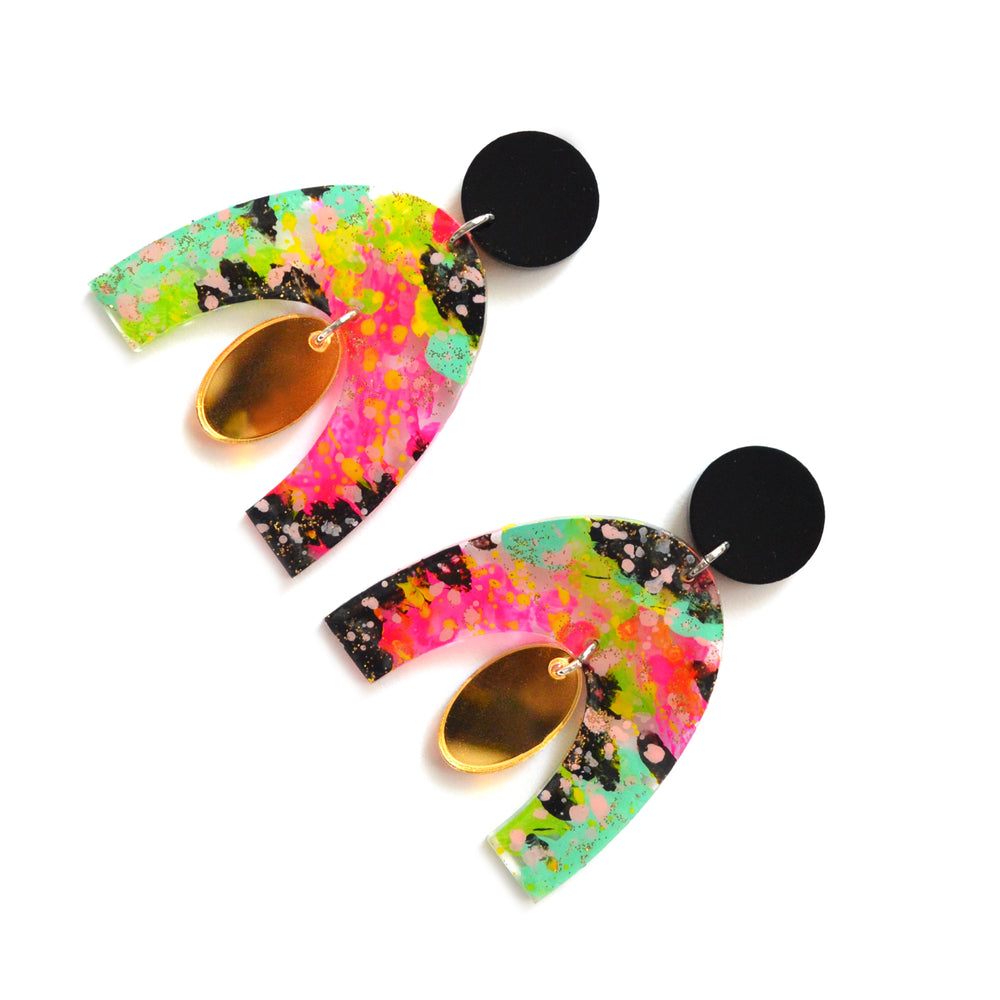 Rainbow Abstract Art Resin Laser Cut Arch Earrings
