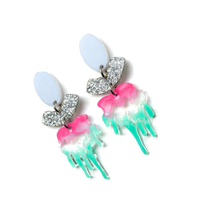 Laser Cut Earrings Pink Acrylic Drip Statement Resin Earrings