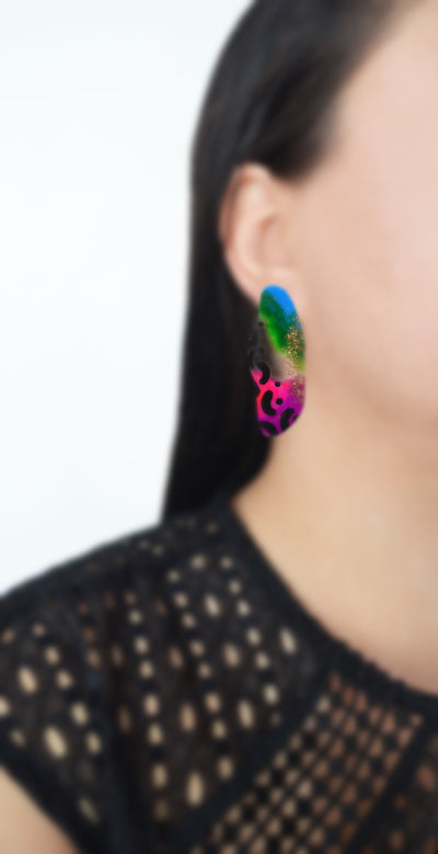 Neon Abstract Art Leopard Squiggle Hoop Post Stud Earrings