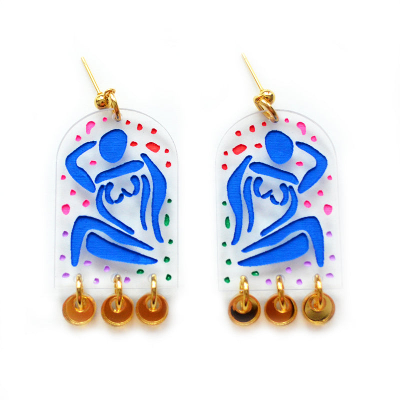 Blue Lady Arch Earrings with Gold Acrylic Dangles