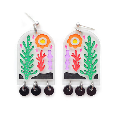 Desert Cactus and Plant Laser Cut Arch Statement Earrings