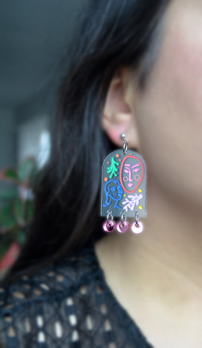 Clear Arch Earrings with Laser Cut Faces