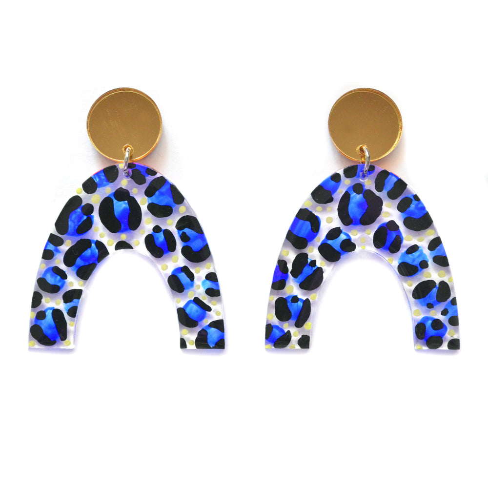 Leopard Animal Print Abstract Art Resin Laser Cut Arch Earrings