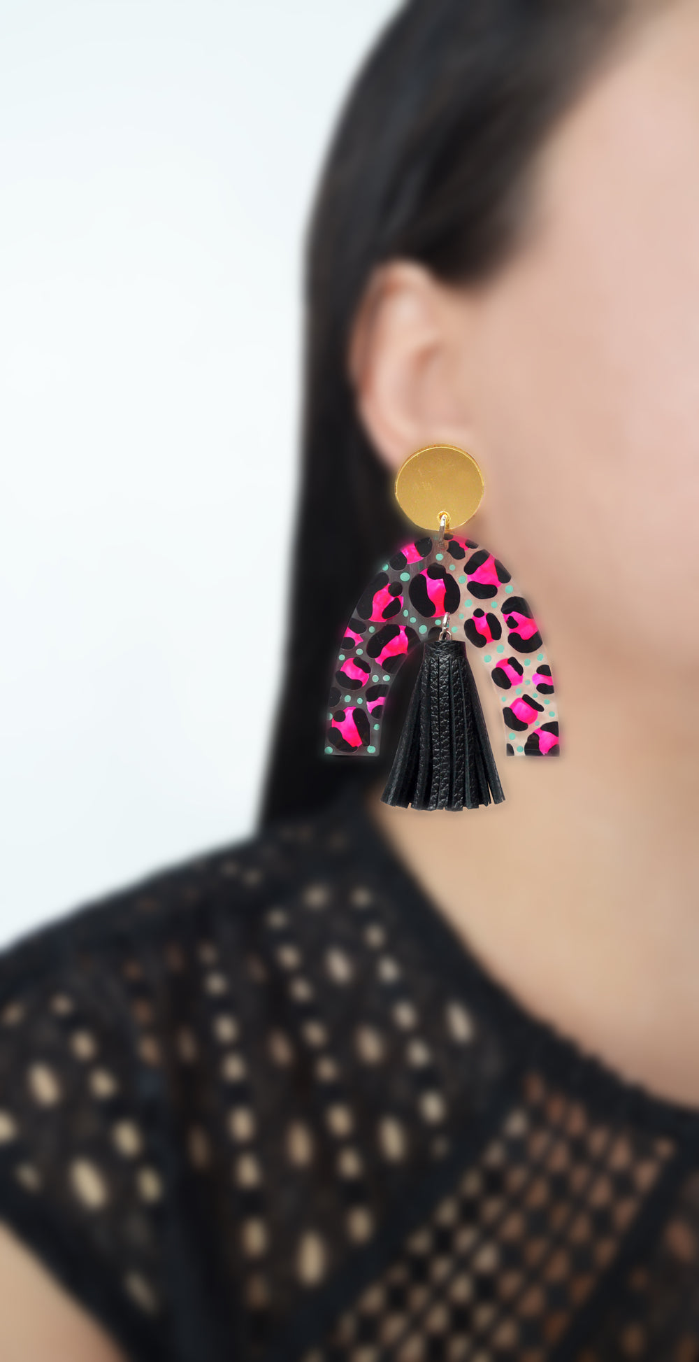 Leopard Animal Print Abstract Art Resin Laser Cut Arch Earrings with Tassels