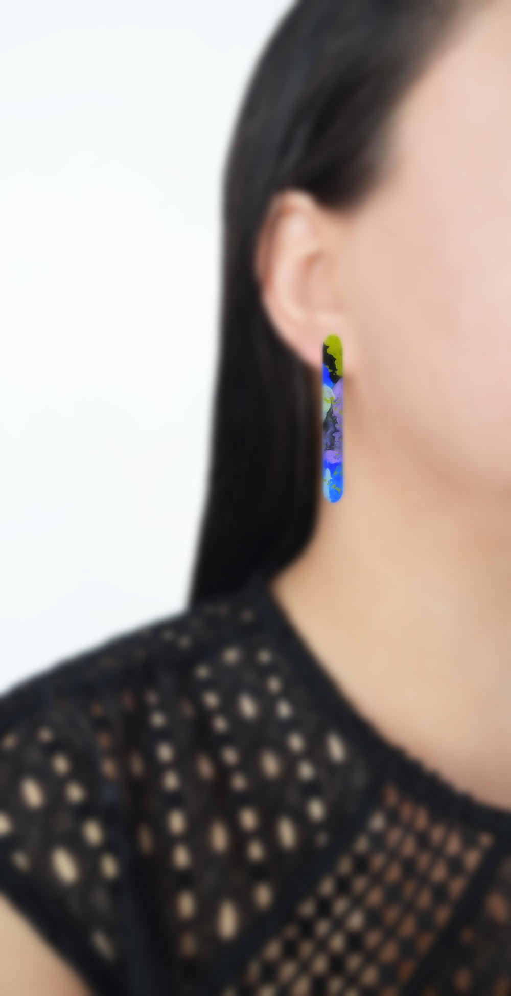 Purple and Blue Watercolor Resin Bar Stud Earrings