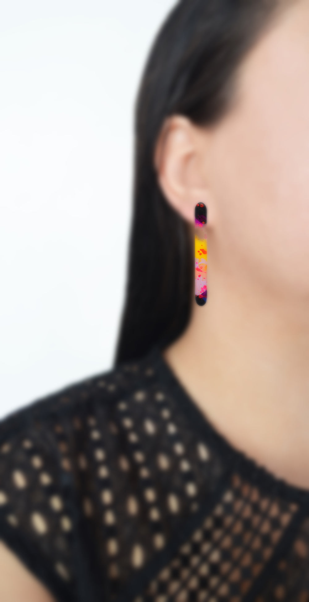 Pink and Yellow Watercolor Resin Bar Stud Earrings