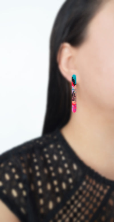 Pink and Blue Watercolor Resin Bar Stud Earrings