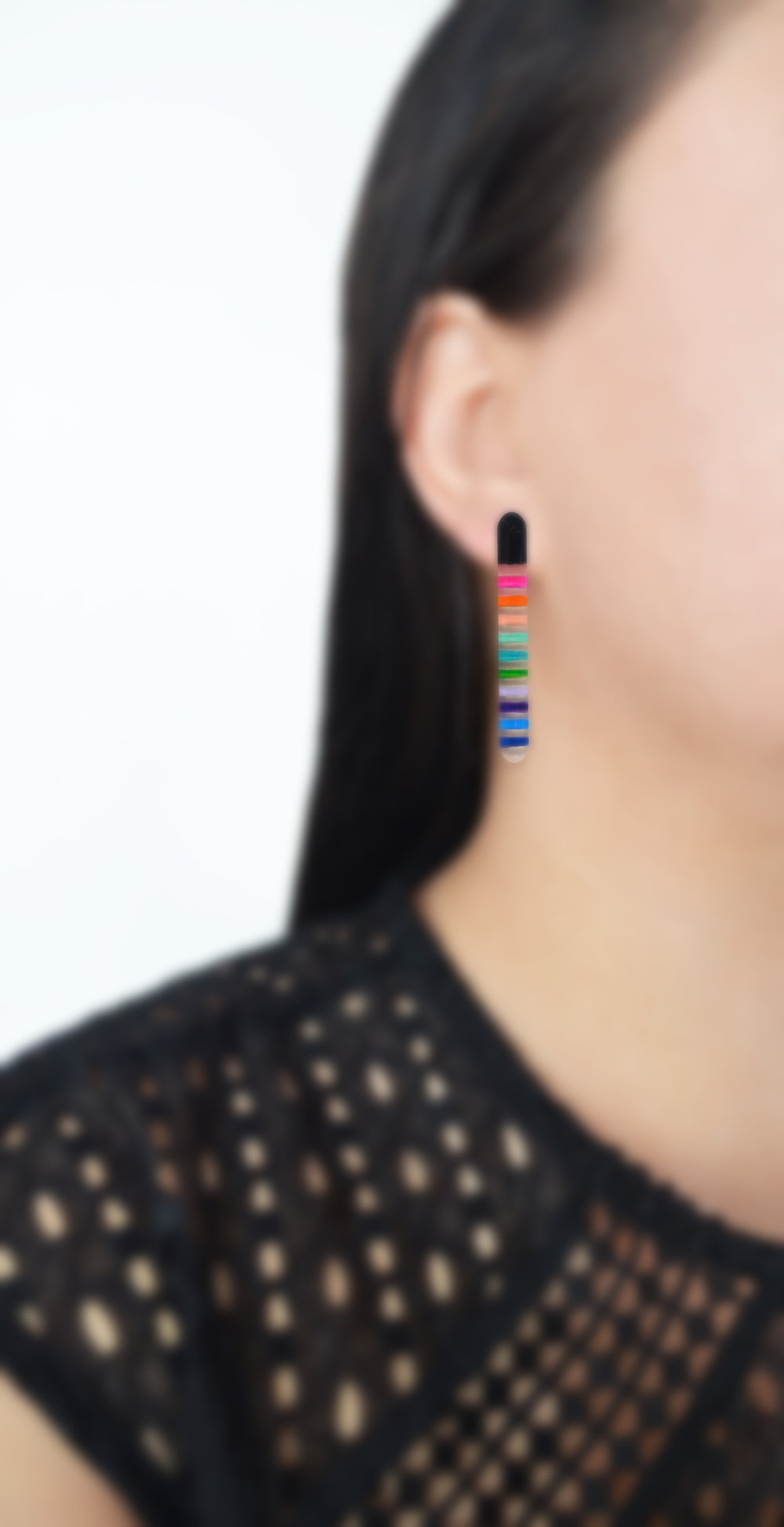 Rainbow Stripes Resin Bar Stud Earrings