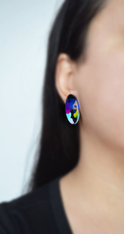 Blue and Purple Abstract Art Oval Resin Stud Earrings