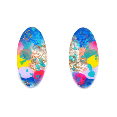 Blue and Gold Glitter Abstract Art Oval Resin Stud Earrings