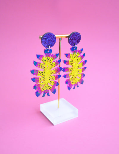 Neon Yellow Space Alien Flower Acrylic Statement Earrings, Laser Cut Jewelry