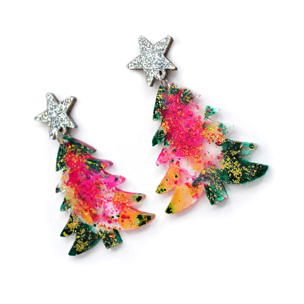 Modern Pink and Green Holiday Christmas Tree Resin Acrylic Earrings