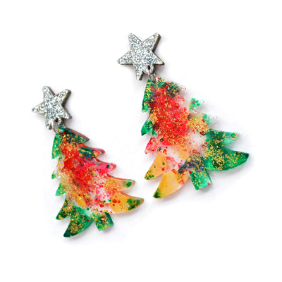 Red and Green Holiday Christmas Tree Resin Acrylic Earrings