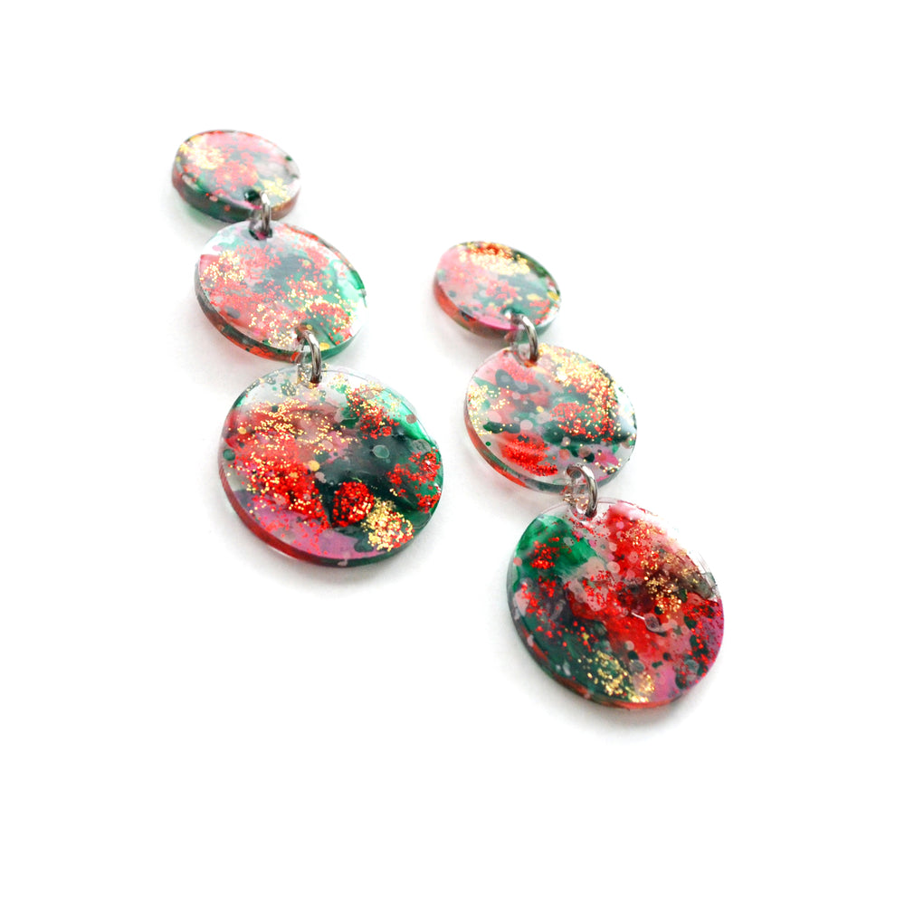 Red and Green Glitter Abstract Christmas Circle Drop Earrings