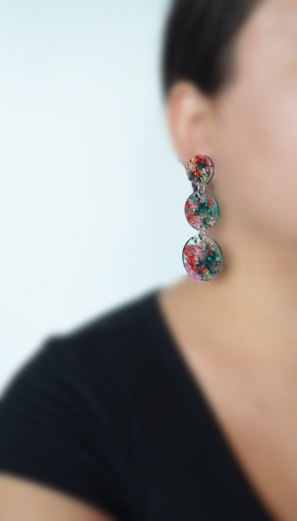 Red and Green Glitter Abstract Circle Drop Earrings